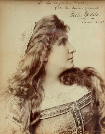 Nellie Melba (1861-1931) made her British operatic début in Harris's first Covent Garden season in 1888, singing the title role in Lucia di Lammermoor.  The following year she had an instant success in Roméo et Juliette, appearing with Jean de Reszke, and she soon became the most celebrated soprano of her generation. The Richard Copeman Collection.
