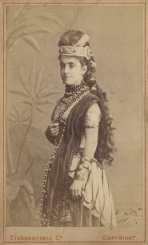 Adelina Patti (1843-1919) as Aida.  She knew Augustus Harris  from 1861 when she was 18,  making her début at Covent Garden.  He was then nine and allowed to watch rehearsals from the wings when his father was directing operas there in the 1860s.  They remained friends until his death.