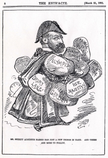 Caricature by Alfred Bryan, The Entr'acte, 21 March 1891. Harris was elected Sheriff of the City of London in 1891 and at the time had seasons running at many different theatres which he controlled. He also owned The Sunday Times.