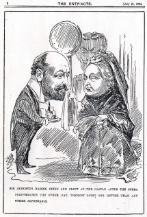 Caricature by Alfred Bryan,  The Entr'acte, 21 July 1894.  A command performance of selections from Frederic Cowen's opera  Signa was given at Windsor Castle on 17 July and and Sir Augustus was invited to stay at the castle overnight.