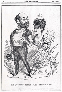 Caricature by Alfred Bryan, The Entr'acte, 8 June 1895.  Adelina Patti had not sung in opera at Covent Garden for ten years when Harris invited her to sing in his 1895 season.  These were her farewell performances on the operatic stage. She sang La Traviata, Il Barbiere di Siviglia and Don Giovanni with two performances of each opera.