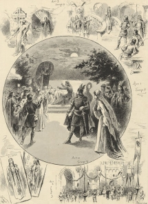 Scene from Elaine. The opera, written by Hermann Bemberg expressly for Melba, was dedicated jointly to her and Jean de Reszke. Both appeared in the world première, Covent Garden 5 July 1892, respectively as Elaine and Lancelot.  The Illustrated Sporting and Dramatic News, 16 July 1892.