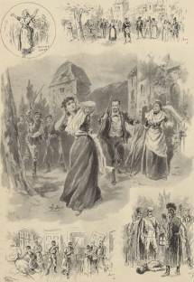 Scene from Alfred Bruneau's L'Attaque du Moulin.  The libretto by Louis Gallet was based on a short story by Émile Zola. Its British première at Covent Garden on 4 July 1894 was a notable success.  The Illustrated Sporting and Dramatic News, 14 July 1894.