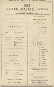 Programme for four subscription nights in April 1891 at the Royal Italian Opera, Covent Garden.
