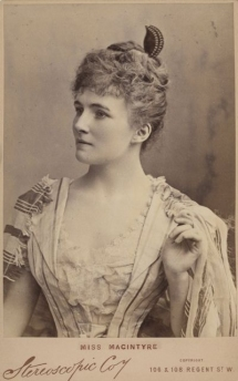 Margaret Macintyre (1863-1943), soprano, was born in Madras. She was a pupil of Manuel Garcia. Harris saw in her an ideal Michaela for his production of Carmen at Covent Garden during his first season of opera there in 1888 and she sang in most of his subsequent seasons.  She retired from the stage when she married in 1907.  Photograph by the Stereoscopic Company, London.