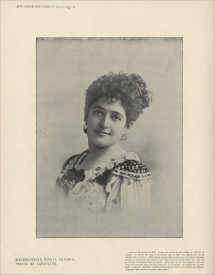 Rosita Olitzka (1872-1949) was born in Saragossa.  Her voice could encompass true contralto parts such as Fides in Le Prophète as well as the mezzo-soprano roles Carmen and Mignon.