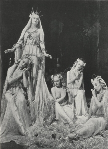 Constance Shacklock as Sabrina with her nymphs in The Masque of Comus.