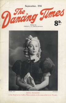 Mona's first Dancing Times front cover, as the Maid in her own ballet Planetomania. Courtesy of The Dancing Times.