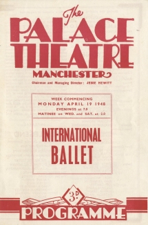 Programme. Palace Theatre, Manchester.
