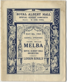 Programme, 8 May 1921. Melba sang arias from Faust, La Bohème and  Sadko, and songs by Tosti and Rachmaninov.