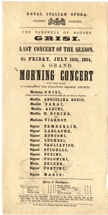 Flyer for the Grand Morning Concert at the Royal Italian Opera, Covent Garden, 14 July 1854.