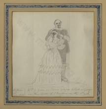 Grisi and Lablache in I Puritani. Drawing by Princess [later Queen] Victoria. Signed and dated July 1835. John Watts Collection (see below).