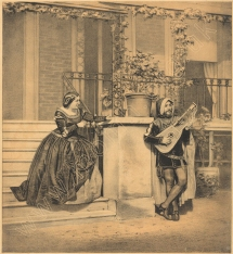 Grisi and Mario in the garden of Mulgrave House, Fulham, their London home from the late 1850s to 1864. Lithograph by Henry Maguire after a photograph by Monteechi, Caldesi & Co, from the title page of J. L. Hatton's 'Come Live with Me and be my Love', London, [1857]. Mario is shown in costume as Manrico in Il Trovatore.