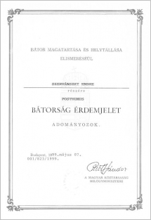 Posthumous certificate of bravery awarded by the Hungarian government to Szervánszky for his help rendered to Jewish people during the Second World War.