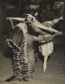 Phyllis Bedells as the Spirit of the Indian Maiden with Leighton Lucas as the Young Chief in Act I.