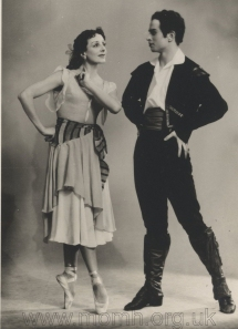 As Frondoso in Laurencia (Krein/Chabukiani), with Natalia Dudinskaya. His first performance in this challenging role on 20 November 1958, was his post-graduation debut with the Kirov company. Dudinskaya, one of Russia's most distinguished ballerinas, chose him to be her partner, an extraordinary honour for a new graduate. Photograph by Y. Lesov.