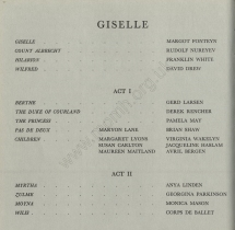 Royal Opera House, Covent Garden, 21 February 1962 : cast for the performance of Giselle.