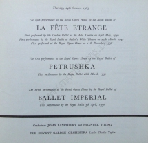 Royal Opera House, Covent Garden, Thursday, 24 October 1963, Nureyev's first performance as Petrushka.