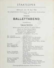 Vienna State Opera Ballet, cast sheet for the première of the one-act Tancredi (Henze/Nureyev), 18 May 1966. This was Nureyev's first original ballet.