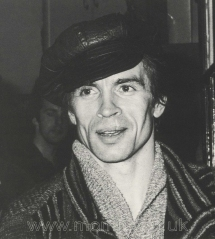 Nureyev leaving the stage door of the London Coliseum after a performance in June 1981. Photograph by Mervyn Theobald.