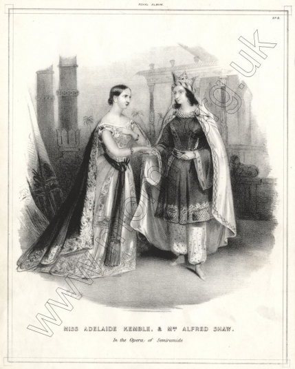 Mrs Alfred Shaw's debut on the English stage (as Arsace) in Rossini's Semiramide with Miss Adelaide Kemble (left as Semiramide), Covent Garden, 1 October 1842.  (Plate No.8 from Royal Album, [c.1850].)