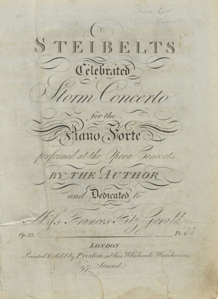 Celebrated Storm Concerto, Op.33.  London, [c.1813].  First published in 1798.