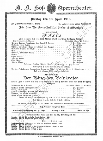 Vienna Premiere, 10 April 1916. The Brendan G Carroll Collection.