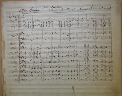 Overture Marie du Bois, 1843.  First page of the autograph score.  The title is a tribute to Bennett's fiancée Mary Anne Wood, whom he married in 1844.  The work had several performances between 1844 and 1850 but remained unpublished until Bennett re-used as overture to his popular cantata The May-Queen in 1858.