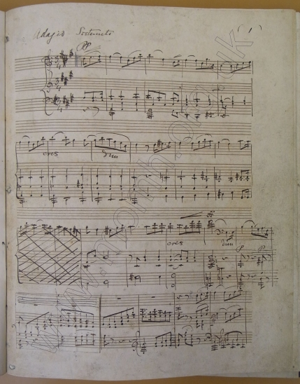Sonata Duo for cello and piano, Op.32. 1852.  First page of the autograph manuscript.