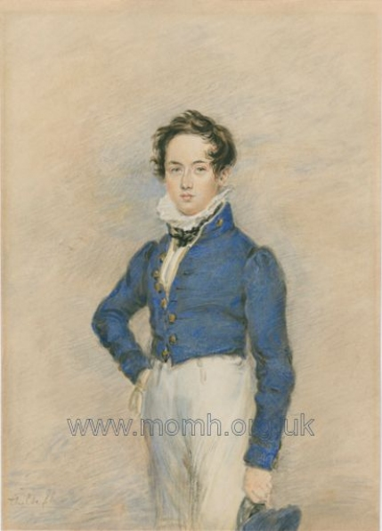 Watercolour of Bennett in Royal Academy of Music uniform, 1832.  Copy of the original by James Warren Childe.
