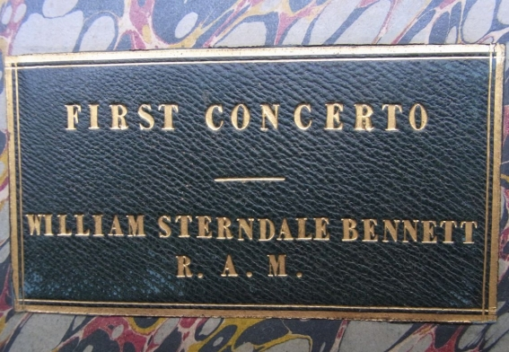 Piano Concerto in D minor, Op.1. 1832.  Label on the front board of the bound autograph score.