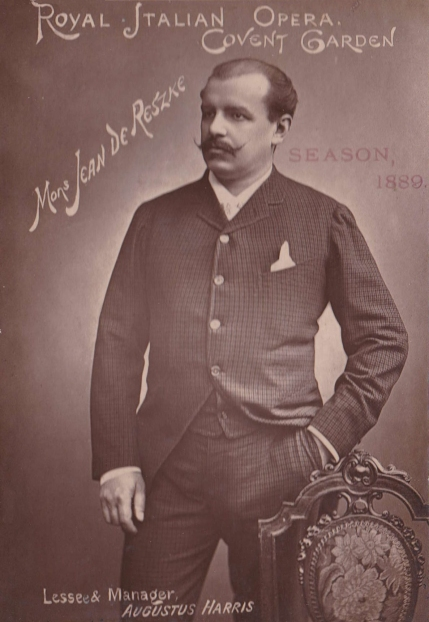 Jean de Reszke (1850-1925). Cabinet photograph. In the 1887 Drury Lane season Jean de Reszke was introduced to London singing tenor roles.  He had previously been a baritone.  After the opening night when he sang Radames in Aida his success was immediate and he quickly became an international star.  The Richard Copeman Collection.