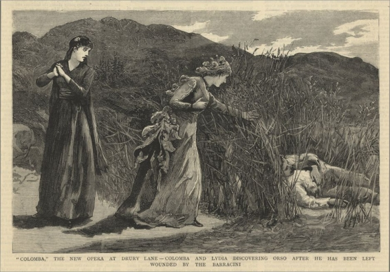 Scene from Colomba by Alexander Mackenzie which received its world première on 9 April 1883 during the Carl Rosa Season at Drury Lane.  The three roles shown here were created by Alwina Valleria, Mlle Baldi and Barton McGuckin. The Graphic, 1883.
