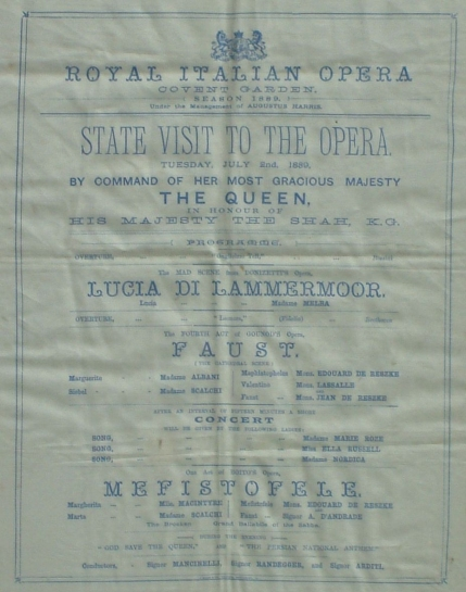 Silk programme for the Shah's visit.  The star cast includes Albani, Melba, Margarite Macintyre, Nordica and the de Reszke brothers.  The Richard Copeman Collection.