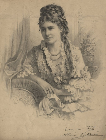 Alwina Valleria (1848-1925), American-born soprano, studied at the Royal Academy of Music, London.  She sang in the Carl Rosa seasons at Drury Lane creating the title roles in Colomba and Nadeshda and was also sang in the first performance of The Troubadour.