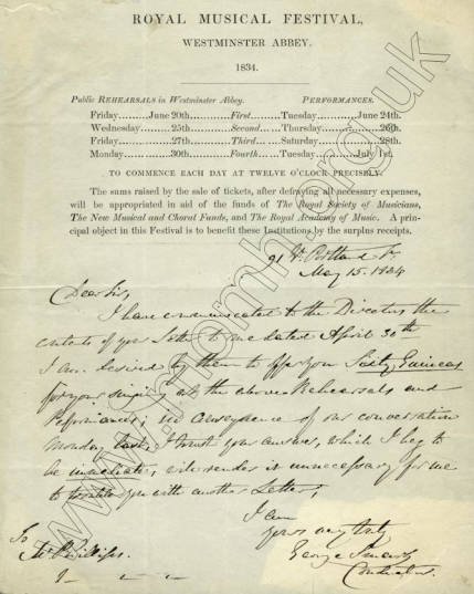 Royal Musical Festival, Westminster Abbey, 1834. Autograph letter dated 15 May 1834 from Smart to Henry Phillips offering him sixty guineas for singing at the four performances with one rehearsal for each concert. Image reproduced with permission from the Royal Academy of Music, London.