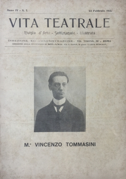 Vincenzo Tommasini (1878-1950). From Vita Teatrale for 23 February 1913. Rome, 1913.