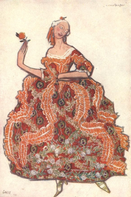 Léon Bakst : Costume design for Constanza reproduced in the programme for the 1919-20 Season of the Ballets Russes.