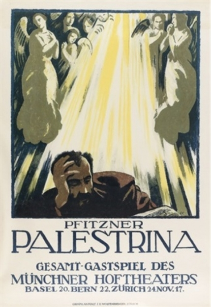 Poster for the Swiss propaganda tour of the first production of Palestrina in November 1917.