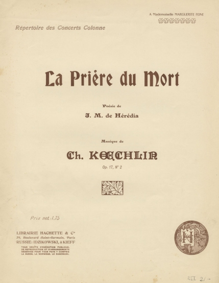 La Prière du Mort, Op.17, No.2. [1902].  Composed 1895-6 and first performed at the Concerts Colonne 1901.