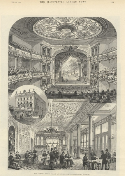 Engraving of The Royal Victoria Coffee Palace and Music Hall, from The Illustrated London News, 22 February 1890.