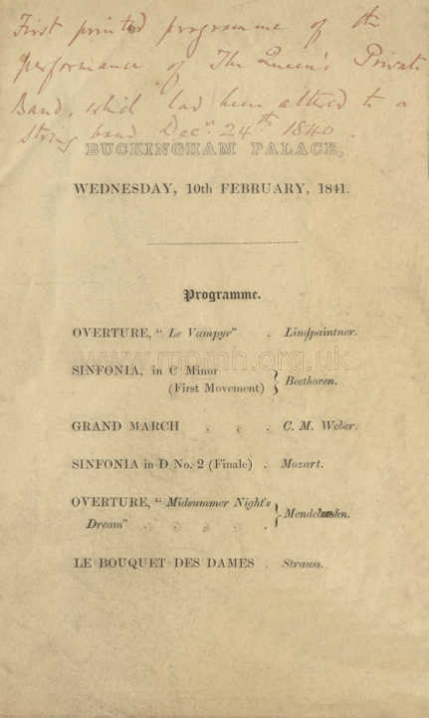 One of Prince Albert's first important royal initiatives was the expansion of the Queen's Private [wind] Band into a full orchestra. First heard privately on Christmas Eve, 1840 at Windsor Castle, the orchestra was presented to a larger gathering in the Grand Saloon, Buckingham Palace on 10 February 1841 - the evening following Princess Victoria's christening and the first anniversary of the royal wedding.