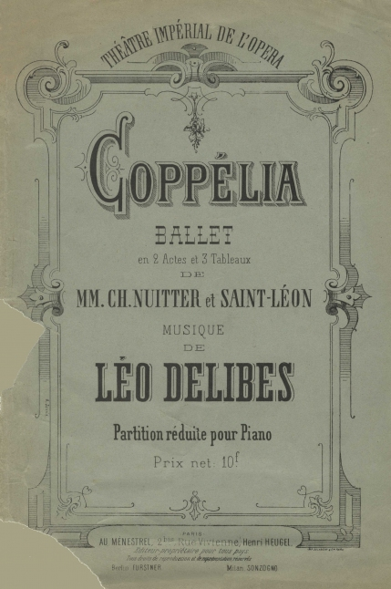 A reissue of the wrapper to the piano score, first published Paris, [1870]. Coppélia was the last important work given in the Salle le Peletier (1821) before it burnt down in October 1873. The present Palais Garnier opened as the Théâtre National de l'Opéra in January 1875.