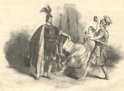 Jenny Lind as Alice with Staudigl as Bertram and Fraschini as Roberto in Roberto il Diavolo on her first appearance at Her Majesty's Theatre, 4 May 1847. The Pictorial Times, 8 May 1847.