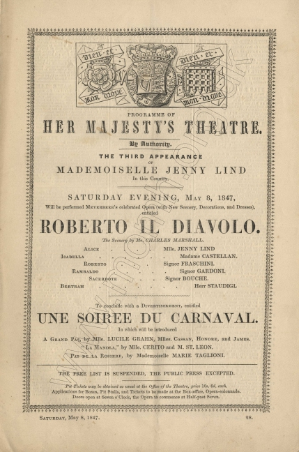 Programme for the third performance of Meyerbeer's Roberto il Diavolo at Her Majesty's Theatre, 8 May 1847.