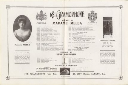 Advertisement from programme of  17 May 1910 above.