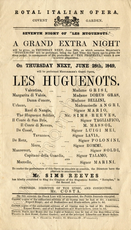 Flyer for a performance at the Royal Italian Opera, Covent Garden, 28 June 1849.