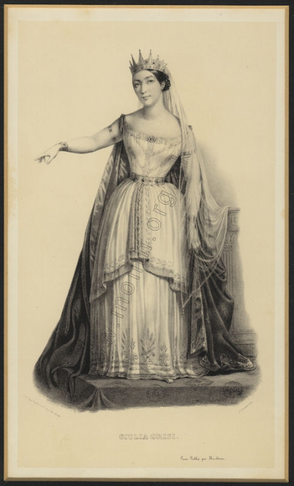 Grisi as Semiramide. Lithograph by Rigo frères et Cie after A. Lacauchie, Paris, c.1832.