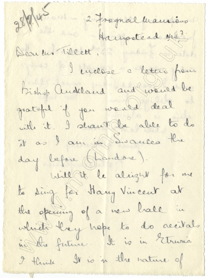 Letter to John Tillett (received 28 February 1945). Two years after Ferrier's death the Etruscan Philharmonic Hall, referred to in this letter, was renamed the Kathleen Ferrier Memorial Hall. In 1973 it was demolished to make way for road developments.