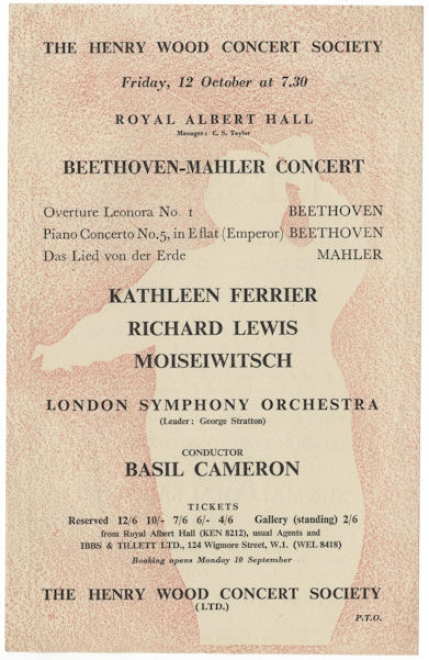Flier for concert at the Royal Albert Hall, 12 October 1951.